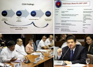 Sen. Teofisto Guingona III, Chairman of the Blue Ribbon Committee, questions Agriculture Secretary Proceso Alcala during the inquiry Thursday on the alleged P10-B Priority Development Assistance Fund scam involving the Janet Lim-Napoles group at the Senate Session Hall in Pasay City.(upper photo power point presentation by Senate. (MNS photo)