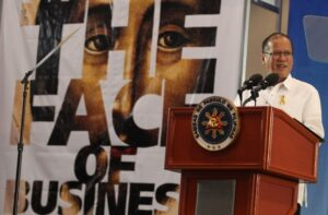 President Benigno S. Aquino III delivers his message during the Brotherhood of Christian Businessmen and Professionals (BCBP) Grand Breakfast at the SMX Convention Center in Pasay City on Wednesday (October 02). The BCBP identifies, trains and develops Christian leaders to become agents for justice and sound development in the work environment. (MNS photo)