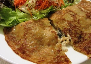 Mushroom Crêpe at Loving Hut Paris (Paris.LovingHut.fr) A staple French dish – delicate, flavorful, and comforting.