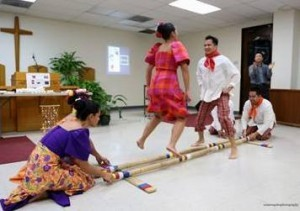 "students performing the ""Tinikling"""