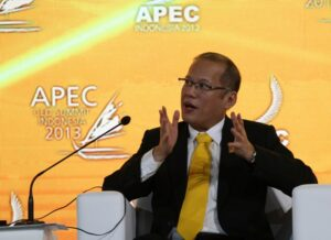 "BALI, Indonesia –Benigno S. Aquino III answers questions directed to him during the panel discussion in the 2013 APEC CEO Summit at the Summit Plenary, Mangupura Room, Bali International Convention Center in Bali, Republic of Indonesia on Sunday (October 06). The President is one of the three country heads to deliver a message at the APEC CEO Summit on the topic ""Why Inclusive Growth Matters."" (MNS photo)"