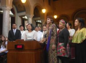 Consul General Ma. Hellen Barber De La Vega addressing the Los  Angeles City Council.
