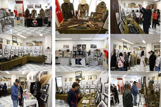 Filipino veterans and community members viewing the exhibit of World War II memorabilia  and photos courtesy of Mr. Gil Mislang of the Philippine Scouts Heritage Society