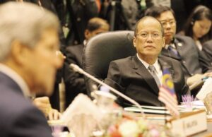 "BRUNEI DARUSSALAM – Philippine President Benigno S. Aquino III listens to US Secretary of State John Kerry during the 1st ASEAN – U.S. Summit at the Muzakarah Hall, Brunei International Convention Center in Bandar Seri Begawan, Brunei Darussalam on Wednesday (October 09, 2013) at the sidelines of the 23rd ASEAN Summit and Related Summits. The ASEAN-U.S. Leaders Meeting symbolizes the increasing level of engagement and regional cooperation between the ASEAN member states and the U.S. The ASEAN-US dialogue relations have been progressing well since its establishment in 1977. In addition to the exchange of views on political and security matters in the early stages of the dialogue relations, both sides gave priority to cooperation in commodities, market and capital access, transfer of technology, development of energy resources, and shipping and food security. With theme: ""Our People, Our Future Together"", the Summit will discuss ways to consolidate these gains to meet the 2015 target of having an economically integrated, politically cohesive and socially responsible ASEAN Community and to ensure ASEAN's place in the global community of nations by 2015 and beyond. (MNS Photo)."