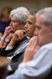 President Barack Obama, with Health and Human Services Secretary Kathleen Sebelius and Chief of Staff Denis McDonough in a previous meeting on the Affordable Care Act – the reason why there is a federal government shutdown – in the Roosevelt Room of the White House. (Official White House Photo by Pete Souza)