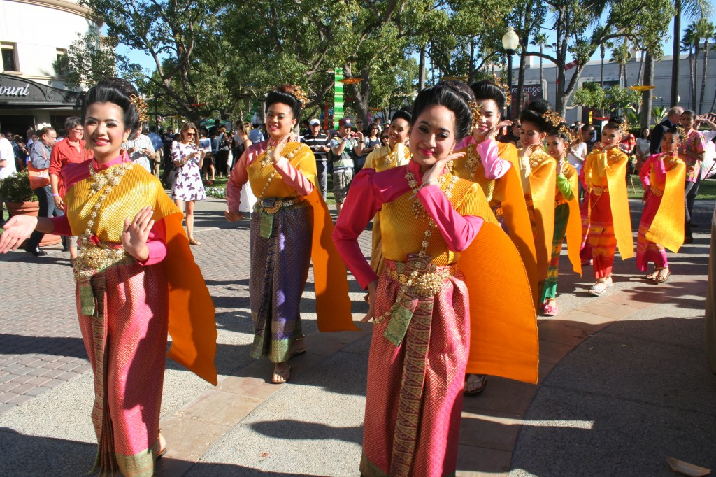 Thai girls in their traditional costumes entertain guests at the food festival inside Paramount Pictures in Hollywood.