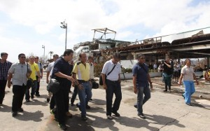 President Benigno S. Aquino III and Interior and Local Government Secretary Mar Roxas personally inspect the extent of damage wrought by Super Typhoon Yolanda (Hainan) during his visit to Tacloban City, Leyte on Sunday (November 10). Typhoon Yolanda is the world's most powerful typhoon in 2013. (MNS photo)