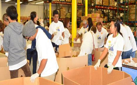 Members of the Alpha Phi Omega Fraternity packed some basic human necessities to be distributed to schools in depressed areas and to other less-privileged areas in and around Los Angeles.