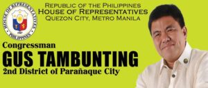 Rep. Gustavo Tambunting 2nd District, Parañaque City (photo screenshot courtesy of www.gustambunting.com/)