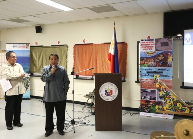 Deputy Consul General Daniel Espiritu with Mr. Bobby Reyes giving a short lecture on Filipino American History.
