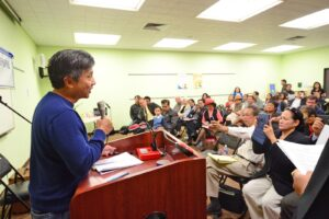 San Francisco-based Filipino-American author and journalist Benjamin Pimentel (left) addresses his kababayans who attended the 4th commemoration of the Ampatuan Massacre, where 32 of the 58 people killed were his fellow journalists. The event, hosted by the National Union of Journalists of the Philippines-USA Chapter was held at the City of Carson Public Library, attended by Councilmember Elito Santarino, himself a Filipino-American, and even by City Mayor Jim Dear. Photo: Benny Uy