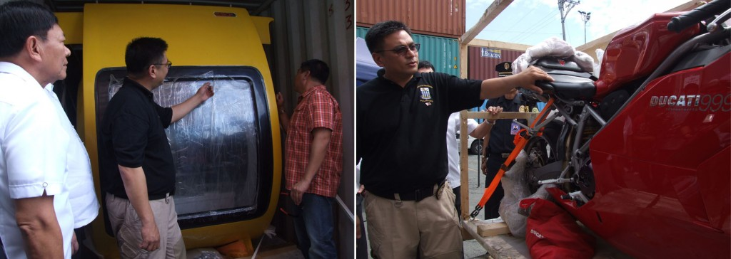 Customs Commissioner Raffy Biazon as he inspects the submarine and Ducati motorcycle worth P19 million from Korea by the operatives of the Manila International Container Port (MICP) in Tondo, Manila on Friday, July 26,2013.(MNS photo)