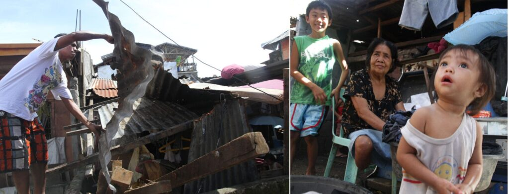 The Padilla family reconstruct the roof of their house on Thursday (November 21,2013) after the strong winds of super typhoon Yolanda devastated Tacloban City and other towns in Samar and Leyte provinces last November 8. (MNS photo)