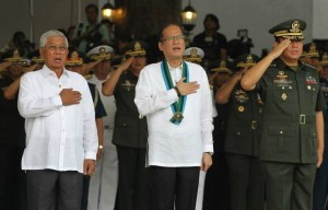 President Benigno S. Aquino III leads the Flag Raising and Awarding Ceremony at the GHQ Canopy, Camp General Emilio Aguinaldo in Quezon City on Monday (November 04, 2013). The Commander-in-Chief honors the men in uniform who gallantly fought to rescue civilian hostages from the Moro National Liberation Front (MNLF) – Misuari faction during the three-week Zambonga City siege last September. In photo are Defense Secretary Voltaire Gazmin and Armed Forces of the Philippines (AFP) Chief of Staff General Emmanuel Bautista.(MNS photo)