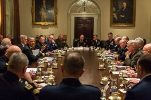President Barack Obama and Vice President Joe Biden hold a meeting with Combatant Commanders and Military Leadership in the Cabinet Room of the White House, Nov. 12, 2013. (Official White House Photo by Pete Souza)