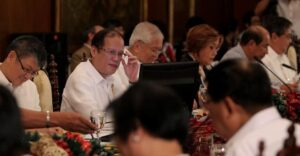 President Benigno S. Aquino III presides over the Cabinet Meeting at the Aguinaldo State Dining Room of the Malacañan Palace on Tuesday (December 10, 2013). In photo are Executive Secretary Paquito Ochoa, Jr., Foreign Affairs Secretary Albert del Rosario, Justice Secretary Leila de Lima, Budget and Management Secretary Florencio Abad and Tourism Secretary Ramon Jimenez, Jr. (Photo by: Benhur Arcayan / Malacañang Photo Bureau)