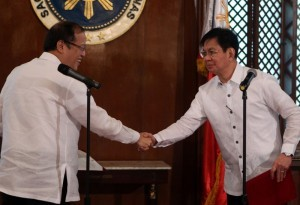 "President Benigno S. Aquino III congratulates Presidential Assistant for Rehabilitation and Recovery former Senator Panfilo Lacson after administering the oath in a ceremony at the President's Hall of the Malacañan Palace on Tuesday (December 10). The ""rehabilitation czar"" is the man in charge to oversee the overall efforts being undertaken by the national government in reconstructing the areas destroyed by super typhoon Yolanda in the Visayas region. (MNS photo)"