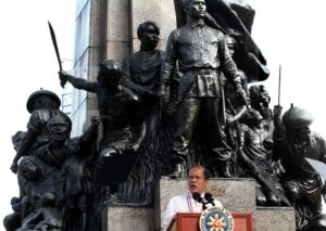 "President Benigno S. Aquino III delivers his speech during the commemoration of the 150th Birth Anniversary of Gat Andres Bonifacio at the Bonifacio National Monument in Caloocan City on Saturday (November 30) with the theme: ""Bonifacio: Dangal at Kabayanihan."" (MNS photo)"