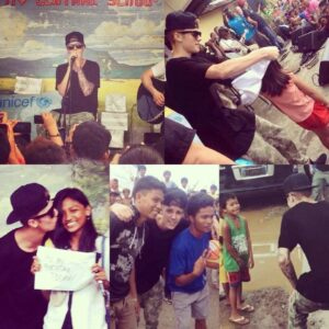 Justin Bieber shares moments for rare photo opportunities with his fans in the City of Tacloban as posted by Edward Cabiasa in The Bieberhood Fan Site Facebook Page.