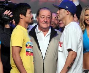 """Bob Arum (center), Manny """"Pacman"""" Pacquiao and  Brandon """"Bam Bam"""" Rios face each other (MNS Photo)"""
