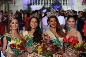 MissEarth2013 Alyz Henrich of Venezuela  (second from right) has been crowned Miss Earth 2013 at the pageant's finale held at Alabang, Muntinlupa City, in the Philippines. The coronation ceremony took place at the Versailles Palace and was telecastlive on Star World. Her court are composed of (from  left) Katia Wagner of Austria (Miss Air), Catharina Choi of Korea (Miss Fire) and Punika Kulsoontornrut of Thailand (Miss Water) (From Miss Earth Facebook Page)