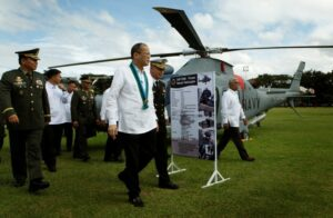 "President Benigno S. Aquino III inspects the three newly acquired AgustaWestland helicopters during the 78th Founding Anniversary of the Armed Forces of the Philippines (AFP) at the AFP General Headquarters Grandstand in Camp General Emilio Aguinaldo, Quezon City on Friday (December 20). This year's theme is: ""Tagumpay Noon, Bayanihan Ngayon, Karangalan Nating Lahat Bukas"". Also in photo are Defense Secretary Voltaire Gazmin and AFP Chief of Staff General Emmanuel Bautista. (MNS photo)"