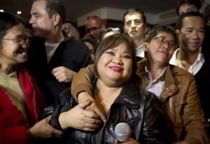 Rose Fostanes after she won in the Israeli X-Factor Television show singing contest Rose Fostanes a Filipina migrant caregiver living in Israel, celebrates with friends and family in a bar in South Tel Aviv, after she won in the Israeli X-Factor Television show singing contest, in the early hours of January 15, 2014. ©AFP PHOTO/OREN ZIV