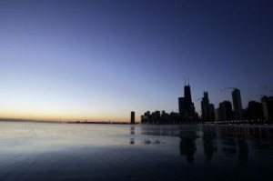 Chicago skyline, lake Michigan The Chicago skyline could soon be lit up at night, if a new design competition comes to fruition. ©AFP PHOTO/JEFF HAYNES