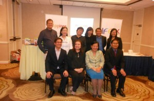 (L-R) seated Trade Representative Dinsay, CITEM Executive Director Mediran, Consul General De La Vega and Consul John Reyes with members of the Food Mission at the Crowne Plaza Hotel.