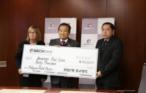 Photo above shows (L-R) ARC Director of Development Ms. Donya Webb presented a check from BBCN President & CEO Soo Bong Min and Consul Miranda.