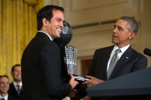 Miami Heat Coach Erik Spoelstra presents President Barack Obama with a team trophy to honor the 2013 NBA Champion Miami Heat on winning their second-straight Championship title, in the East Room of the White House, Jan. 14, 2014. (Official White House Photo by Lawrence Jackson)