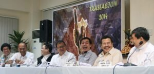 Msgr. Clemente Ignacio (right), Quiapo Church rector, Manila Mayor Joseph Estrada and Vice Mayor Isko Moreno share a light moment with (from left) Department of Health Director Edgardo C. Janairo, City Administrator Simeon Garcia, Fr. Ric Valencia Jr., and National Disaster Risk Reduction and Management Council Executive Director Eduardo D. Del Rosario during the press conference on the rerouting of the Black Nazarene procession at the Quiapo Church's Benedict Bldg. on Monday (Jan. 6, 2014). (MNS photo)
