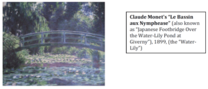 "Claude Monet's ""Le Bassin aux Nymphease"" (also known as ""Japanese Footbridge Over the Water-Lily Pond at Giverny""), 1899, (the Water-Lilly"") as published by the Presidential Commission on Good Government in 2012 that was sold by Marcos aide Vilma Bautista."