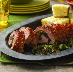 Chef Allen's BBQ Roasted Pork Tenderloin Stuffed with Braised Collard Greens & Caramelized Onions