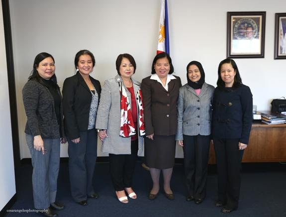 Administrative Officer Clarissa Limpin, Honorary Consul Mercado and her daughter,  Consul General De La Vega, Deputy Consul General Imelda Panolong and Vice Consul Mary Joy Ramirez.