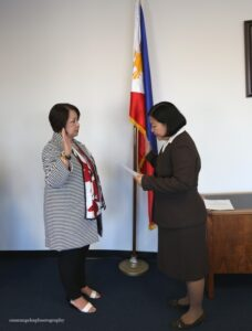 Consul General Ma. Hellen Barber De La Vega administering the oath of  Ms. Ethel Mercado as the Philippine Honorary Consul for Dallas, TX.