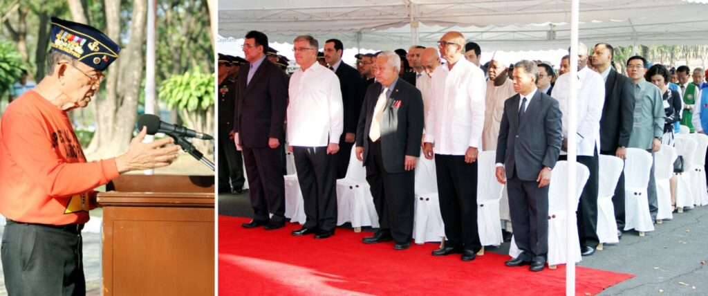 Former President Fidel V. Ramos delivers his message before foreign dignitaries who attended the wreath laying ceremony on Monday (February 24, 2014) at the Libingan ng mga Bayani in Fort Bonifacio, Taguig City on the commemoration of the 28th anniversary of the EDSA People Power Revolution. (MNS photo)