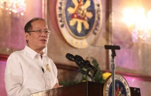 "President Benigno S. Aquino III, who likened Chinese rulers to the Nazi rulers ""ironically"" delivers his speech during the ceremonial signing of the Memorandum of Agreement between the Federation of Filipino-Chinese Chambers of Commerce and Industry, Inc. (FFCCCII) Foundation, Inc. and the Provincial Government of Leyte for the construction of 500 houses and five units of Barrio Schools for Typhoon ""Yolanda"" victims at the Rizal Hall of the Malacañan Palace on Wednesday (February 05)."
