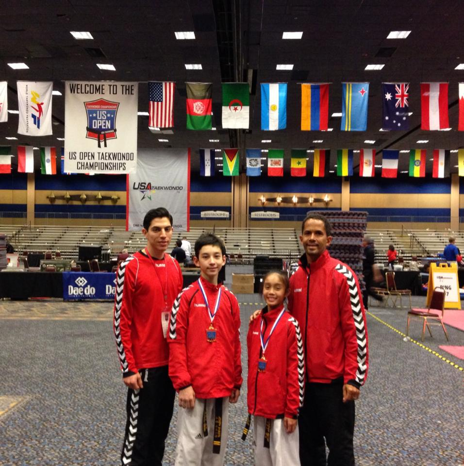 JOSEPH BABISTA: Filipino Taekwondoist Joseph Babista, second from left, improved his medal standing from bronze to gold at the 2014 U.S. Open Taekwondo Championships in Las Vegas, Nevada an achievement for the young athlete who took to the sport at age 6. Joseph is the son of Marie and Rommel Babista, an ICU Nurse and Health Worker, respectively.