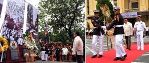 "Manila Mayor Joseph ""Erap"" Ejercito Estrada leads wreath-laying during Commemoration of the 69th Anniversary of the Historic Battle of Manila at the Freedom Triangle, Manila City Hall, on Monday, Feb.03, 2014. (MNS photo)"