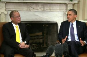 President Obama and President Benigno Aquino of the Philippines at the White House on June 8, 2012 speak to the press after a bilateral meeting in the Oval Office. The White House announced that Obama will visit the Philippines and other Asian countries, including a historic stop to Malaysia, in April this year after cancelling last year's scheduled visit because of the U.S. government shutdown. (Manila U.S. Embassy photo release)