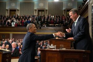 President Barack Obama shakes hands with House Speaker John Boehner before he delivers the State of the Union address in the House Chamber at the U.S. Capitol in Washington, D.C., Jan. 28, 2014. (Official White House Photo by Pete Souza)