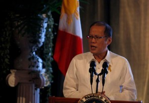 """You may have the might, but that does not necessarily make you right,"" Philippine President Benigno Aquino said as he  warns China's efforts to claim disputed territories are like Nazi Germany's before World War II."