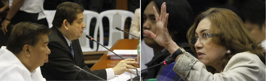 Senator Teofisto Guingona III, chairperson of the Senate Blue Ribbon Committee, presides at the hearing on the alleged pork barrel scam on Thursday (Feb. 13, 2014). Also in photo are Senate President Franklin Drilon and state witness Ruby Tuason. (MNS photo)