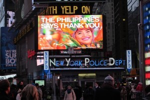 "Electronic billboards lit up with ""Thank you"" signs at New York's Times Square (shown above), Galeries Lafayette in Paris, Tokyo's Shibuya Crossing, London's Piccadilly Circus and five other cities at 2040 GMT Friday, exactly three months after Super Typhoon Haiyan struck the central Philippines."
