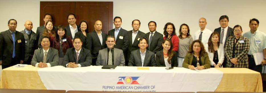 FACCOC EQUIPS FOR 2014: The Filipino American Chamber of Commerce of Orange County retools its members for the expected economic rebound with a seminar to help the members navigate Orange County's business route. The members and officers of the organization take a brief time out from their Feb. 19th event at the New York Life building in Irvine City.