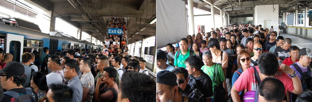 An unusually big number of commuters stand shoulder-to-shoulder while waiting for their train ride at the Metro Rail Transit (MRT)-3 station on Taft Avenue and Epifanio Delos Santos Avenue (EDSA) in Pasay City on Thursday morning (March 27, 2014). The commuters, coming from as far as Cavite, are bound for their places of work in Makati, Mandaluyong, Pasig, San Juan and Quezon City. (MNS photo)