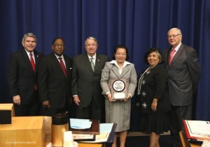 Photo above shows (L-R) Supervisor Zev Yarovsky, Supervisor Mark Ridley-Thomas, Supervisor Knabe, Consul General De La Vega, Supervisor Gloria Molina and Supervisor Michael Antonovich.