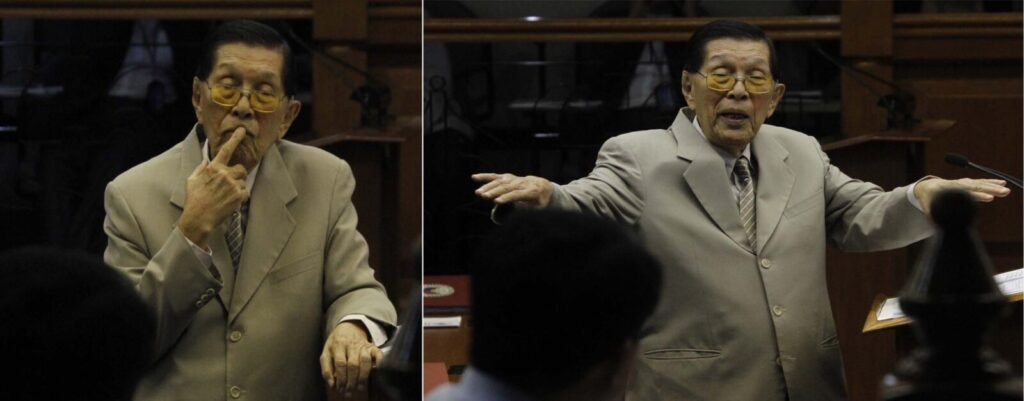 Senate Minority leader Sen. Juan Ponce Enrile, one of the accused in the so-called pork barrel scam, stresses a point in interpellating Senator Koko Pimentel III, sponsor of the Sandigan Bill, who sought the support of his colleagues for the passage of the measure, seeking to improve the disposition of cases in the Sandiganbayan on Wednesday (March 5) at the Session Hall, Senate Bldg in Pasay City. (MNS photo)