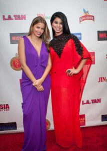 Host Indrani Pal Chaudhari with Miss USA Rima Fakih on red carpet (Photo by Teofie S. Decierdo at VTM Photography)